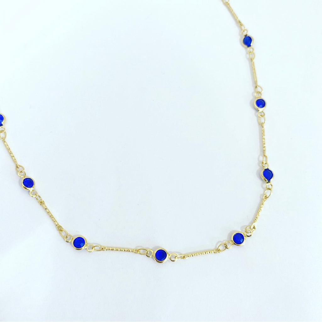 Eliana  Blue Short Necklace