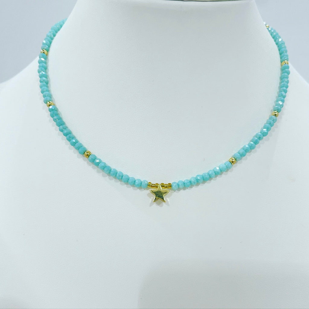 Star Crystal and Pearls Short Necklace