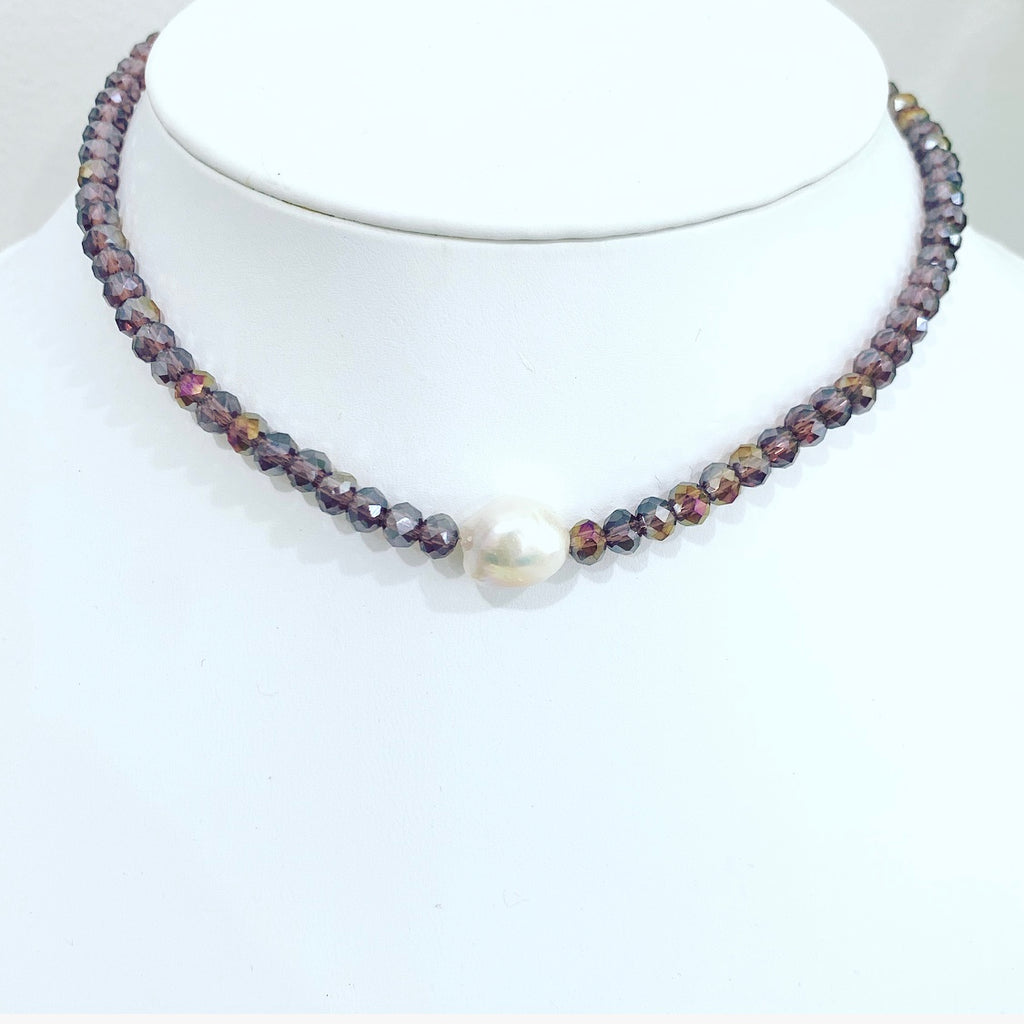 Litmus Purple  Crystal Short Necklace