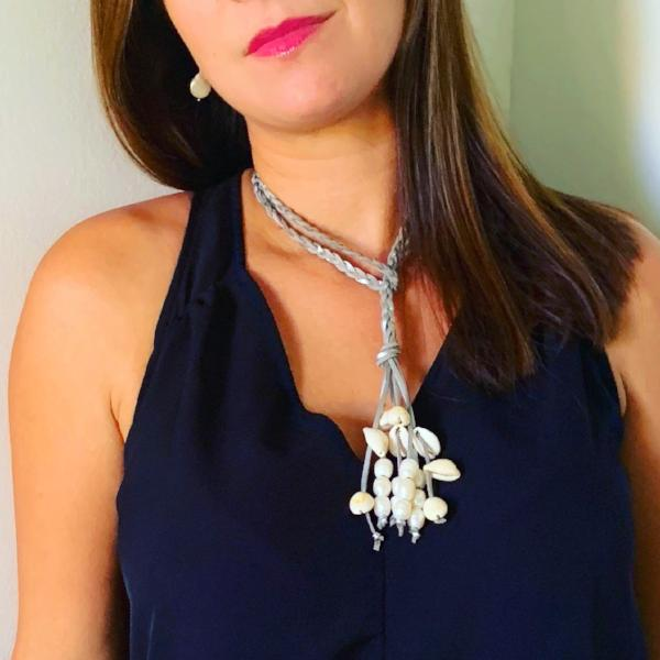 Sandra Shells, Freshwater Pearl and Leather Necklace