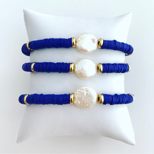 Royal Blue and Flat Freshwater Pearl Stack Bracelet