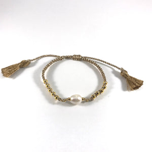 Wendy Freshwater Pearl and Cord Bracelet