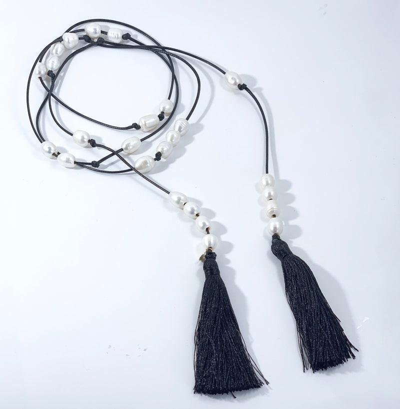 Galy Silk Tassel Lariat Necklace