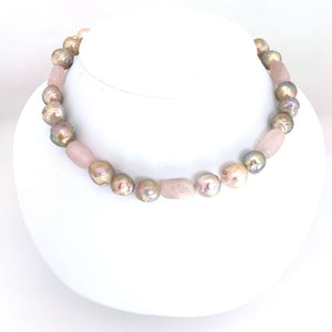 Pink Baroque Rose Quartz Short Necklace