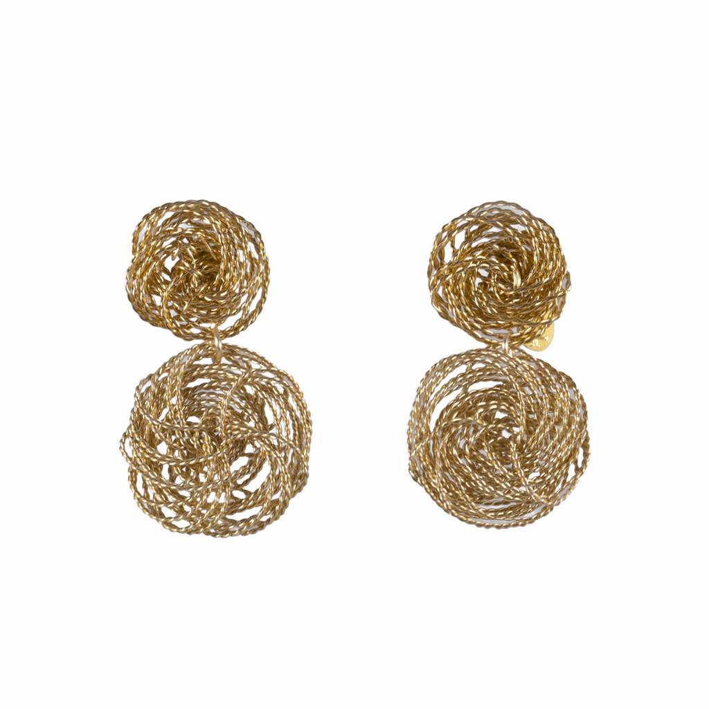 Double Gold Spiral Earrings