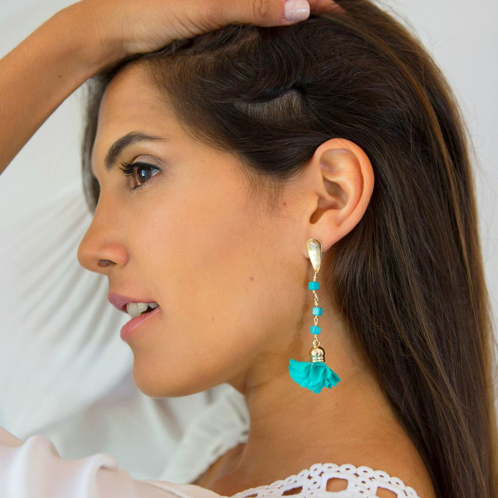 Ale Aquamarine Flower Earrings