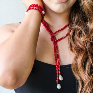 Red Crystals Freshwater Pearls Lariat Necklace