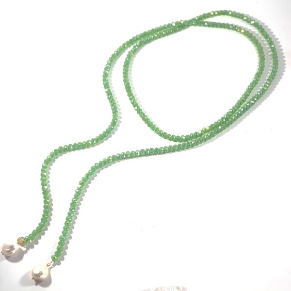 Emerald Crystals Freshwater  Pearls Lariat Necklace