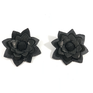 Silvia Flowers Black Earrings