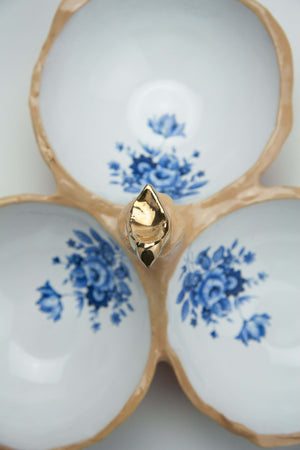 Handmade Ceramic Triple Bowl with Golden Bird