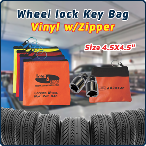 "Vinyl With Zipper - Locking Wheel Nut Key Bag (4.5"" x 4.5"")"