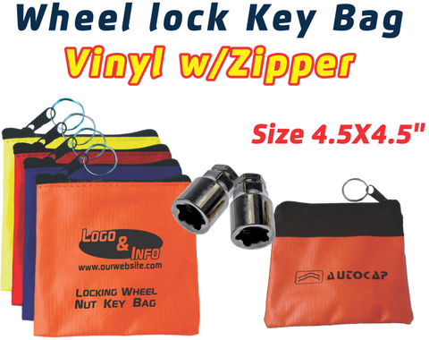 Vinyl with Zipper Locking Wheel Nut Key Bag / Wheel Lock Key Bag
