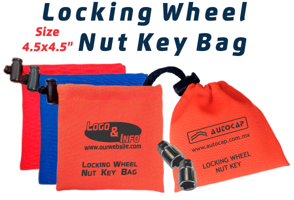 Polyester Fabric Locking Wheel Nut Key Bags