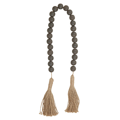Decorative Wood Beads    (Dark Charcoal with Jute)