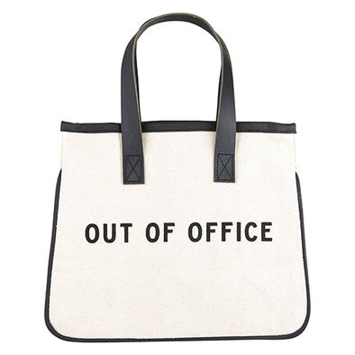 "Mini Canvas Tote ""Out of Office"""