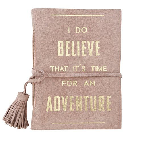 "Suede Leather  Blush Pink Notebook ""Time for an Adventure"""