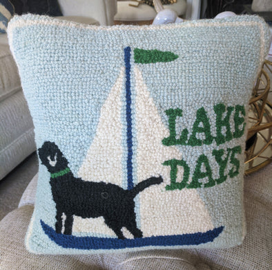 "Mud Pie Wool Nautical Pillow ""Lake Days"""