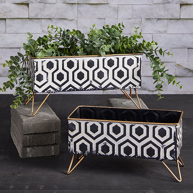 Indoor/Outdoor Planter Black & White Geometric Design (large)