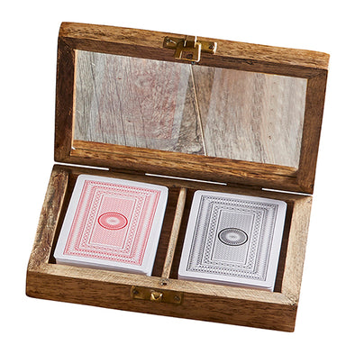 Wooden Box with Playing Cards