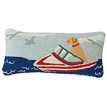 Mud Pie Wool Hooked Lumbar Pillow (Nautical/Boat Dog)
