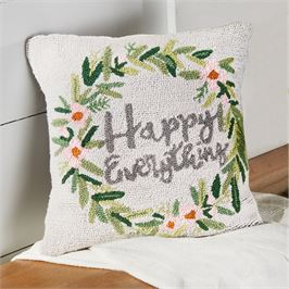 Mud Pie Hook Wool Pillow (Happy Everything)