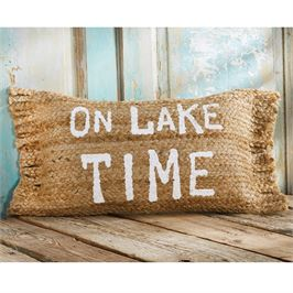 "Mud Pie ""On Lake Time"" Jute Pillow"