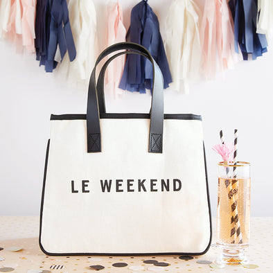"Mini Canvas Tote ""Le Weekend"""
