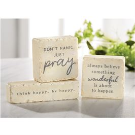 Mud Pie Pazitive Marble Sentiment Blocks (Always Believe Something Wonderful is about to Happen)