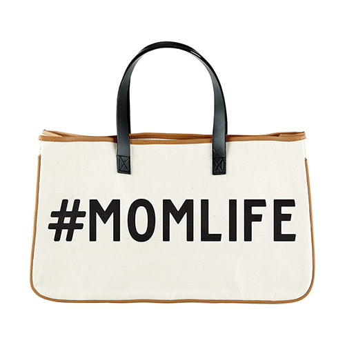 "Canvas Tote ""#momlife"