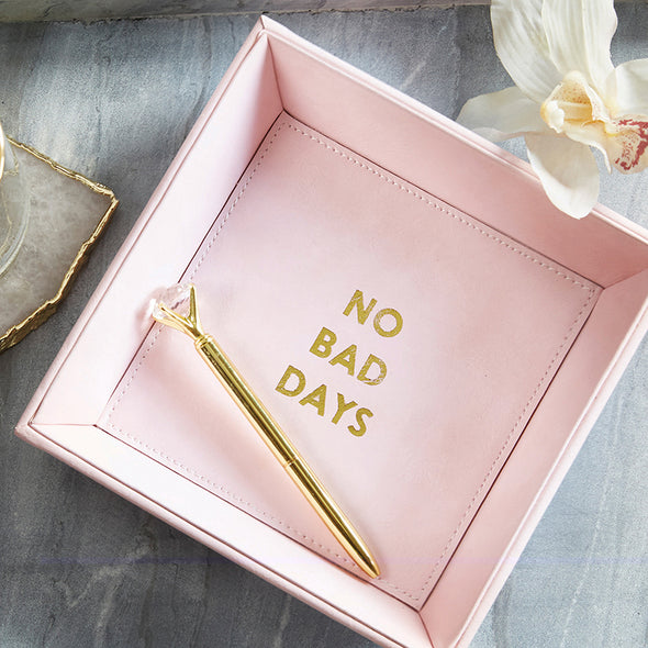 "Leather Tabletop Tray ""No Bad Days""  (Pink 7.5"" square)"