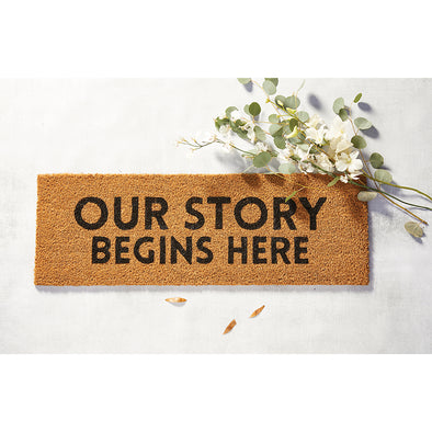"Doormat  ""Our Story Begins Here"""