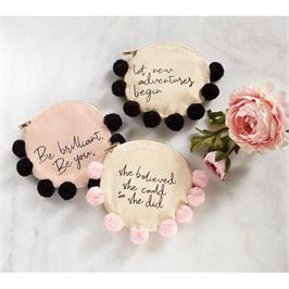 "Mud Pie Canvas Catch All Pouch with Pom-Poms  ""She Believed She Could so She Did"""