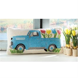 Mud Pie Hook Wool Lumbar Pillow (Vintage Truck with Spring Tulips)