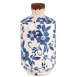Vintage Blue Bottle Vase with Flowers