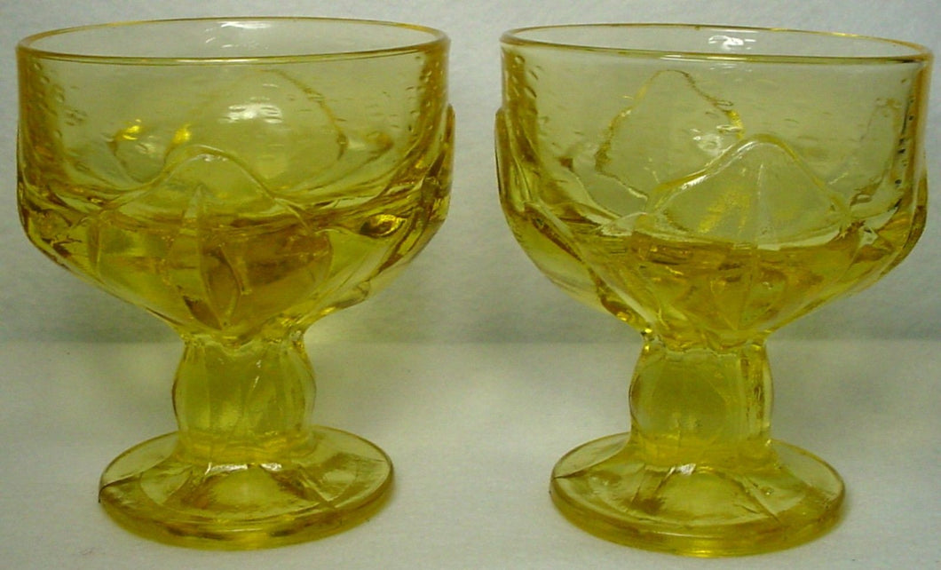 FRANCISCAN crystal CABARET cornsilk yellow CHAMPAGNE tall SHERBET set of TWO (2)