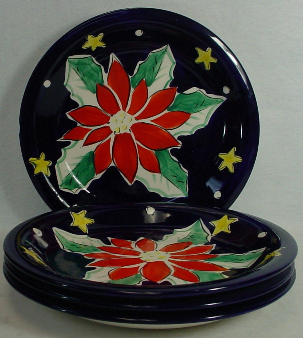 GIBSON DESIGNS china POINSETTIA pattern Set of Four (4) Dinner Plates @ 10-5/8