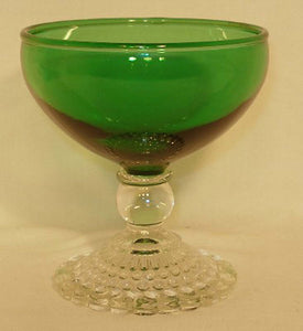 ANCHOR Hocking BUBBLE FOOT-GREEN Set of 2 Champagne/Sherbet Glasses - 3-3/4""