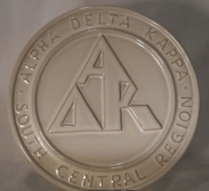 FRANKOMA pottery TRIVET #97 Alpha Delta Kappa South Central Region - White