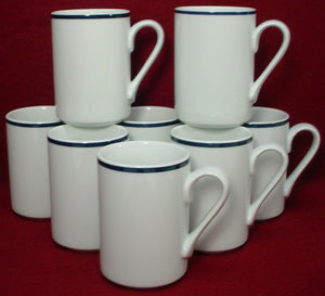 "DANSK china CHRISTIANSHAVN BLUE pattern MUG 4"" Thailand Set of EIGHT (8)"