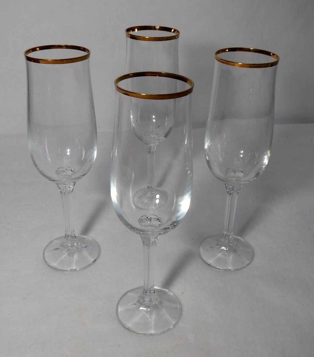 BOHEMIA crystal GENEVE pattern Set of 4 Champagne Flutes