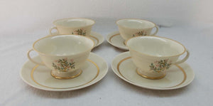 FRANCISCAN china FREMONT pattern CUP & SAUCER Set of 4