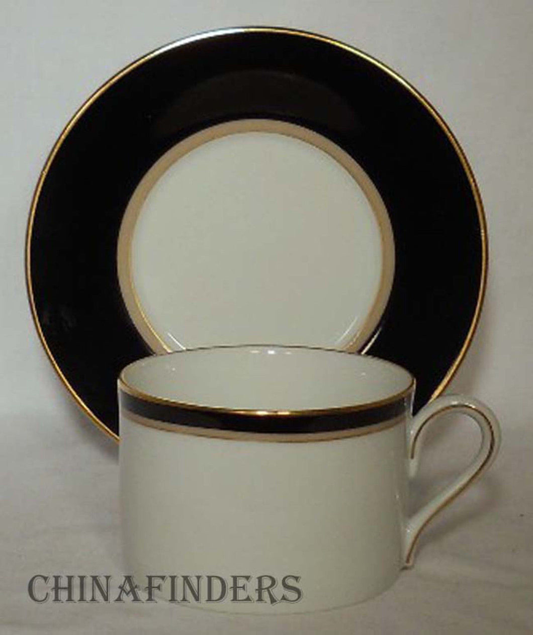 MIKASA china GRANDEUR BLACK LAD03 pattern Cup & Saucer