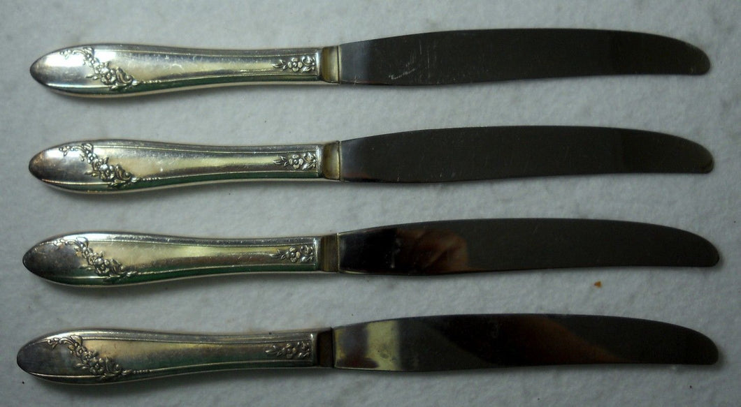 ONEIDA Silver Silverplate QUEEN BESS II 1946 Set of Four (4) Hollow Knives 9-1/2