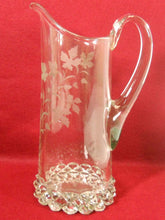 U. S. Glass crystal PAVONIA pattern Engraved Leaves 50-oz PITCHER - 11-1/4""