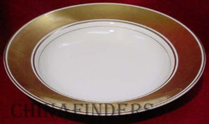 FITZ & FLOYD china GOLD RONDELET pattern Large Rim Soup Bowl @ 9 1/4""