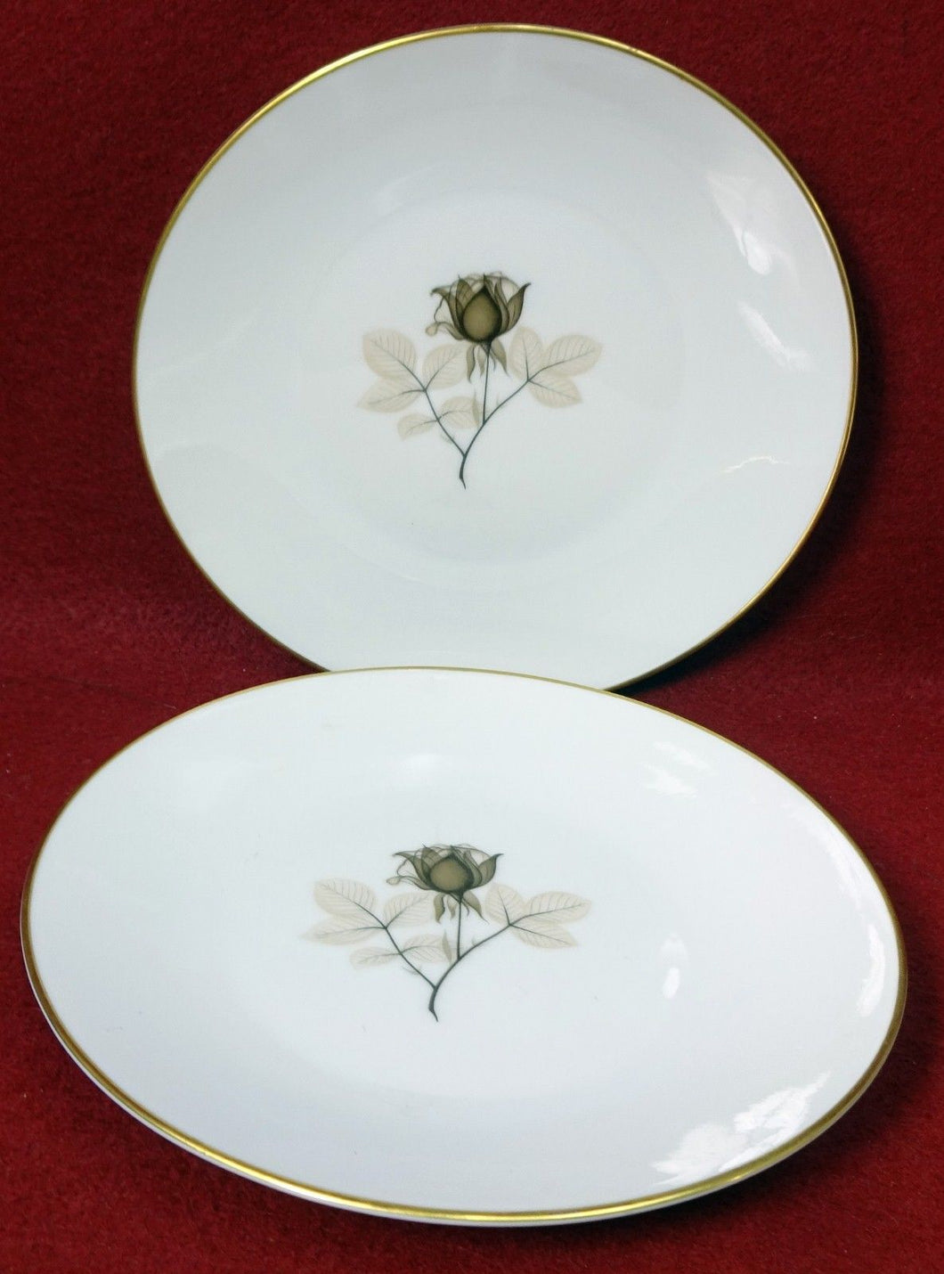 ROSENTHAL china SHADOW ROSE pattern Salad Plate - Set of Two (2) - 7-5/8