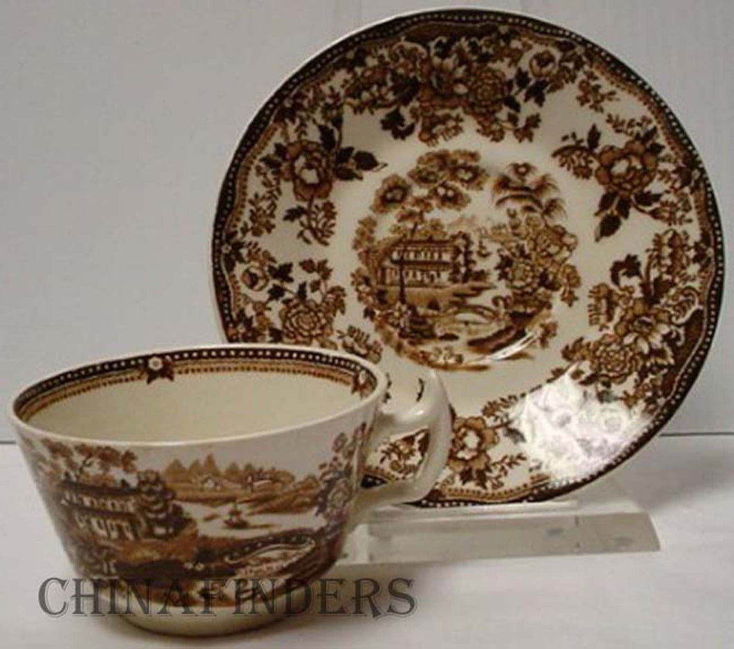 ROYAL STAFFORDSHIRE china TONQUIN-BROWN pattern Cup & Saucer - crazed