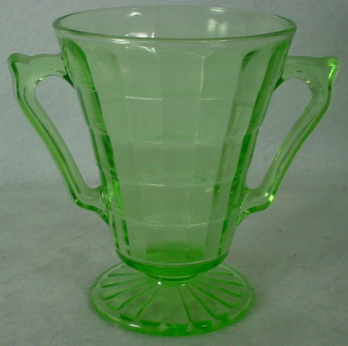 ANCHOR HOCKING Glassware BLOCK OPTIC GREEN Open Footed Sugar Bowl