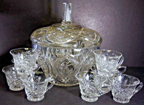 AMERICAN CUT Crystal Cut Glass PUNCH BOWL WITH LID + 11 Punch Cups