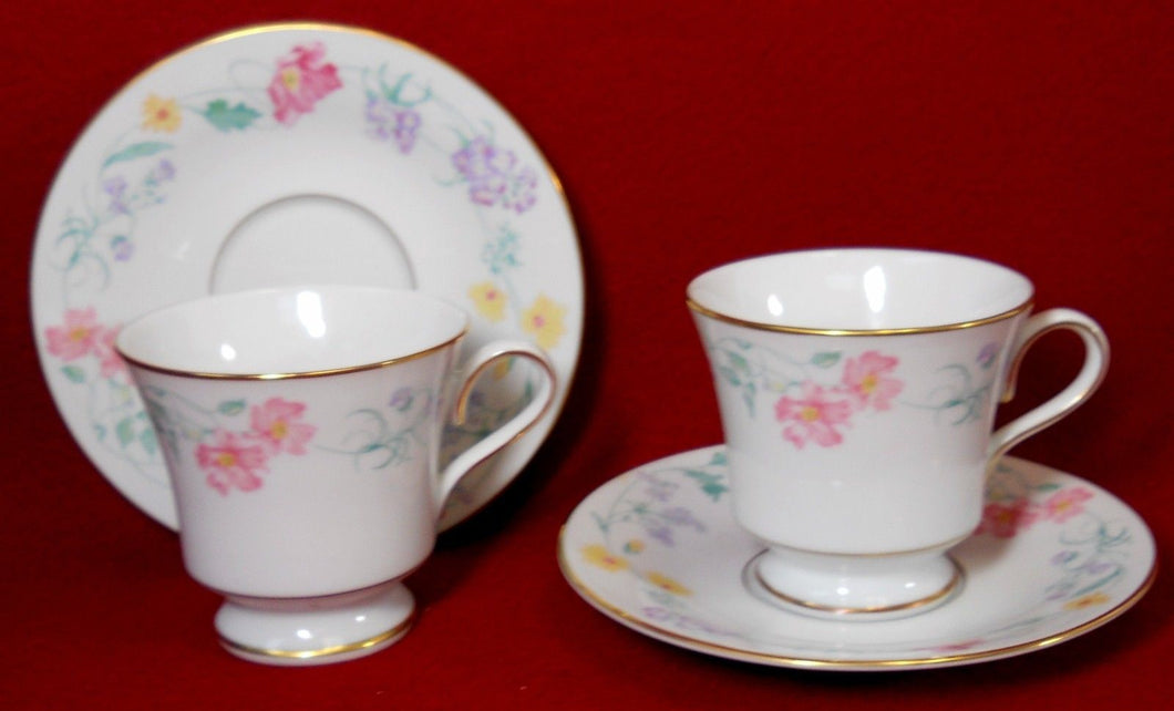 MUIRFIELD china BELLE JARDIN pattern 8927 Two (2) Cup & Saucer Sets - 3-1/8